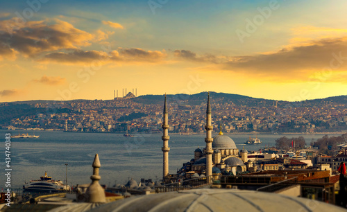 Foto The view of the Bosphorus and old town of Istanbul, Turkey.