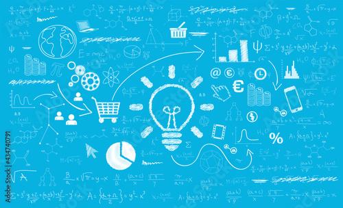 Fotografia sfondo, grafica, idea, lavagna, investimento, matematica, start up