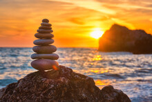 Concept Of Balance And Harmony - Stone Stack On The Beach
