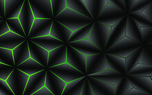 Abstract Black Polygon With Green Light Line Background. Modern Technology Innovation Concept Vector Background