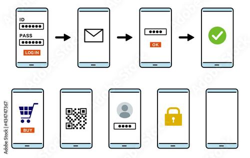 Fototapeta 会員登録の流れのスマートフォンのイラスト ログイン画面 線画カラー