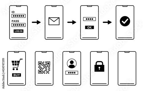 Obraz na plátne 会員登録の流れのスマートフォンのイラスト ログイン画面 線画