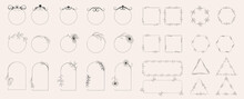Collection Of Geometric Vector Flower Frames. Round, Oval, Triangular, Square Borders Decorated With Hand-drawn Delicate Flowers. Trendy Line Drawing, Lineart Style. Vector Illustration