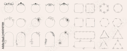 Foto Collection of geometric vector flower frames