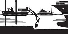 Barge Excavator Make Way Of Cargo Ship – Vector Illustration