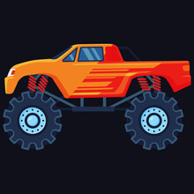 Orange Monster Car With Dark Orange Details Cabin And Bucket