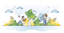 Environmental Solution As Ecological Friendly Alternative Usage Outline Concept. Jigsaw Puzzle With Natural And Renewable Pieces As Sustainable Planet Resources Consumption Symbol Vector Illustration.