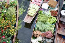 Tha Kha Floating Market In Thailand.