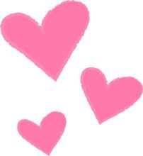 Set Of Hearts, Pink Trio, Valentine, Romance Symbols, Wedding, Romanticism, Love Illustration, Passion, Celebration