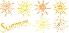 Vector Drawn Sun Icons And Word Summer