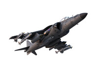 3D Illustration Of A Grey Military Jet Fighter Aircraft Armed With Missiles In Flight Isolated On A White Background.