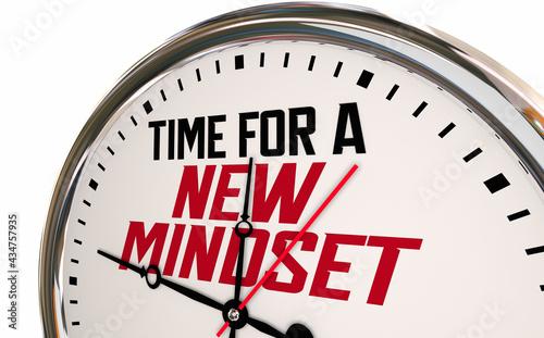 Time for a New Mindset Clock Change Perspective Vision Attitude 3d Illustration Fototapeta