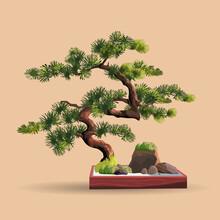 Beautiful Realistic Tree.Tree In Bonsai Style. Bonsai Tree On The Red Box. Decorative Little Tree Vector Illustration. Nature Art