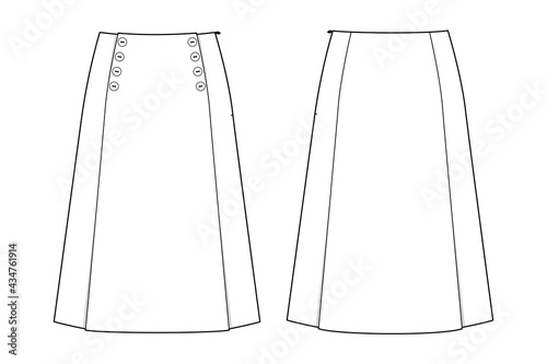 Fototapeta Fashion technical drawing of skirt with buttons