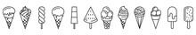 Ice Cream Icons. Set Of Linear Icons Of Ice Cream. Vector Illustration