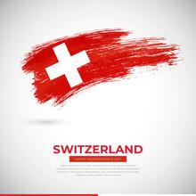 Happy Independence Day Of Switzerland Country. Creative Grunge Brush Of Switzerland Flag Illustration