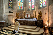 Mass In St Nicolas's Church, Beaumont Le Roger, France During 2019 Lockdown.