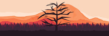 Simple Minimalist Silhouette Of Dead Tree In The Mountain Forest For Web Banner, Blog Banner, Wallpaper, Background Template, Adventure Design, Tourism Poster Design, Backdrop Design