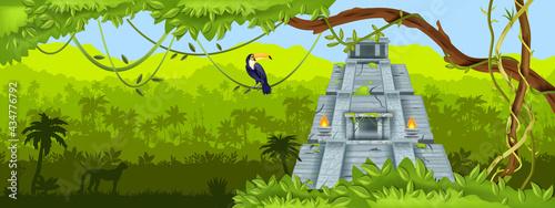 Obraz na płótnie Maya jungle pyramid vector background, green tropical panoramic landscape, palm silhouette, vine, toucan