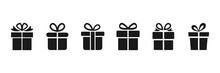 Gift Box Icon Set. Presents Silhouettes. Christmas Gift Collection. Vector Illustration Isolated On White