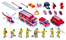 Firefighters, Fire Trucks, Fire Fighting Helicopter And Firemen Tools Set Isometric Icons On White Isolated Background