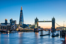 London Skyline At Dusk With Tower Bridge And The Shard