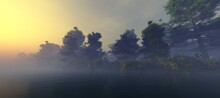 Sunrise Over The River Bank, Forest On The Bank In The Fog, The Sun In The Haze Over The Water, 3D Rendering