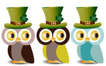 Beautiful, Refined Owls With A Pattern In A Green Hat With A Shamrock To The Day Of St. Patrick