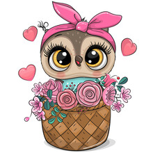 Cartoon Owl In A Basket Of Flowers On A White Background
