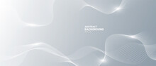 Grey White Abstract Background With Flowing Particles. Digital Future Technology Concept. Vector Illustration.