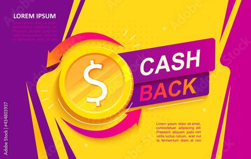 Fotografie, Obraz Cash back advertise banner