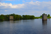 The Pillars Of The Ancient Unfinished Bridge View From The River Volkhov