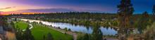 Bend , Oregon With Deschutes River Panorama