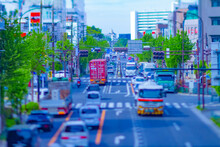 A Timelapse Of Miniature Traffic Jam At The Avenue Tiltshift