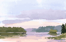 Vector Watercolor Landscape Of Lakeside In Lilac Sunset