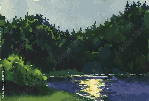 Obraz na plátně Vector watercolor landscape of riverside on moonlit summer night