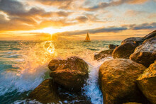 Sunset Ocean Sailboat Painting