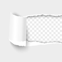 Torn Paper Hole From Right To Left White Sheet Of Paper With Shadow And Paper Curl. Realistic 3d Vector Template Paper Design.
