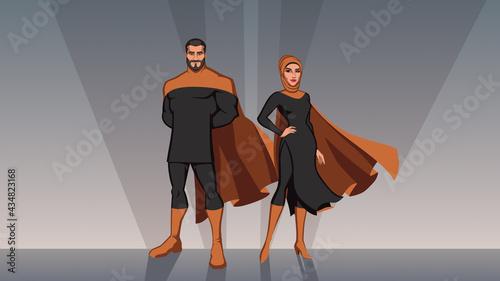 Obraz na plátně Middle Eastern Superhero Couple