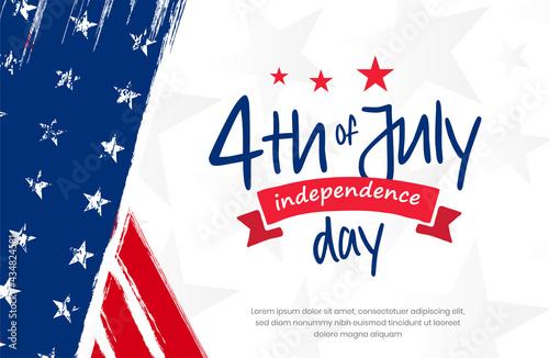 Tela 4th of July, USA, United States of America independence day celebration design on grunge American vintage flag background use for sale banner, discount banner, advertisement banner, social media etc
