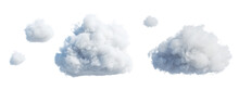 3d Render, Set Of Abstract Fluffy Clouds Isolated On White Background, Cumulus Clip Art Collection