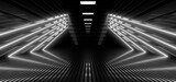 Fototapeta Fototapety przestrzenne i panoramiczne - A dark hall lit by white neon lights. Reflections on the floor and walls. 3d rendering image.