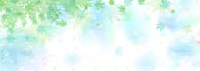 空や水面を思わせるブルーのグラデーションと青紅葉 涼しげな背景イラスト