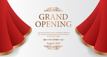 Elegant Luxury Grand Opening Poster Banner With Red Silk Curtain Wave Open Illustration