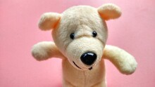 Polar White Teddy Bear Doll, Small Size, Good For Wallpaper And Decoration, Pink Background And Children Toys