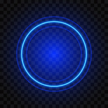 Neon Round Blue Frame, Isolated On Transparent Background, Vector Illustration.