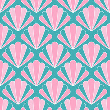Pink And Green Art Deco Style Pattern Design With Seashell Motifs. Elegant Art Deco Repeat Pattern For Wallpaper, Textiles, Home Décor.