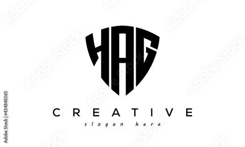 Fotografie, Obraz HAG letter creative logo with shield