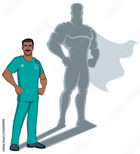 Fototapeta Indian Nurse Superhero Shadow