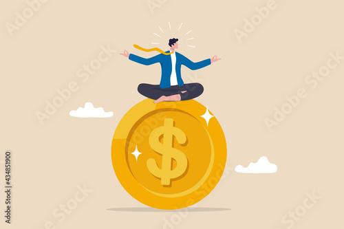 Billede på lærred Financial guru or expert, behavioral finance mindfulness for wealth management, money and investment advisor concept, smart businessman meditate and floating on big golden money dollar coin